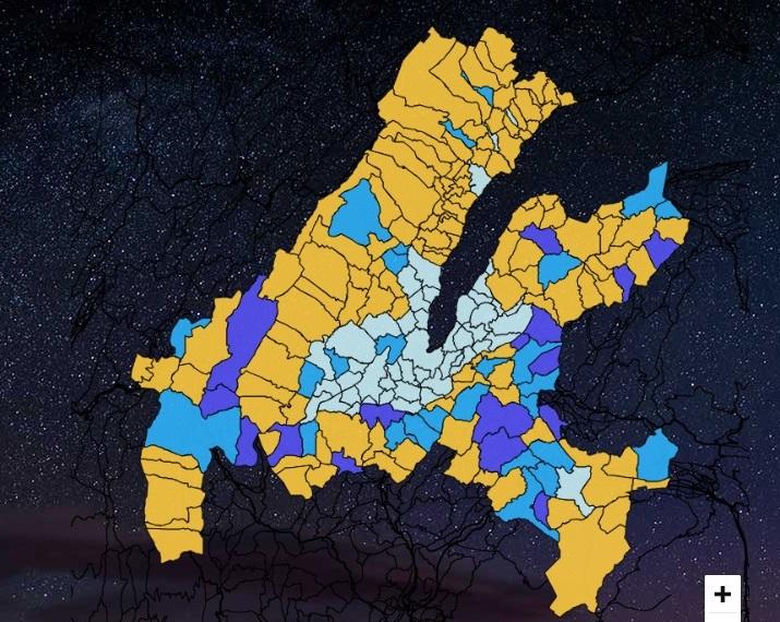 carte des communes qui éteignent à l'année